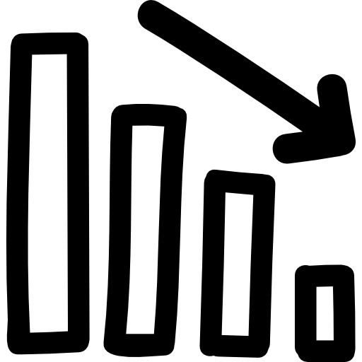 graphique d'affaires vers le bas symbole dessiné à la main  Icône gratuit