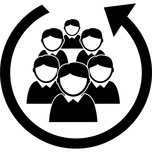 Staff people group in a circular arrow  free icon