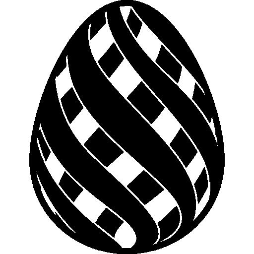 Easter egg with double diagonal stripes design  free icon