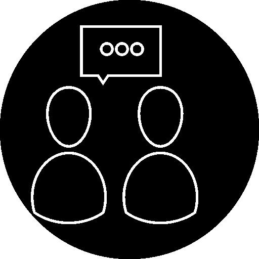 personnes parlant symbole de contour à l'intérieur d'un cercle  Icône gratuit