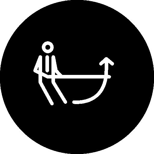 person mit aufwärtspfeil dünne umriss kreissymbol  kostenlos Icon