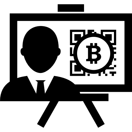 présentation bitcoin avec journaliste  Icône gratuit