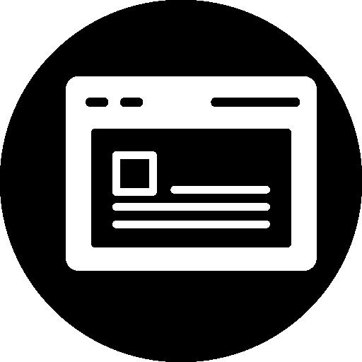 Открыть окно браузера с текстом  бесплатно иконка