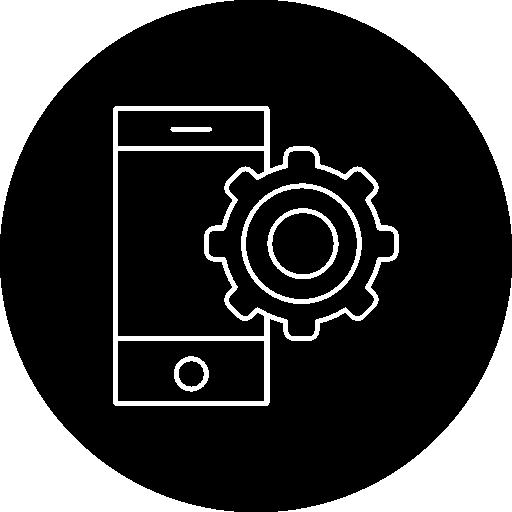 téléphone portable avec contour de roue dentée à l'intérieur d'un cercle  Icône gratuit