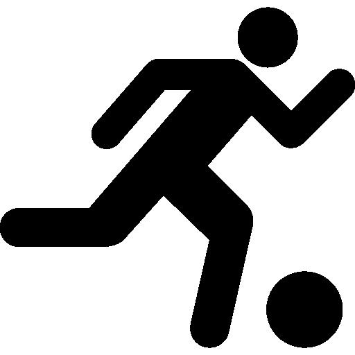 공을 실행하는 축구 선수  무료 아이콘