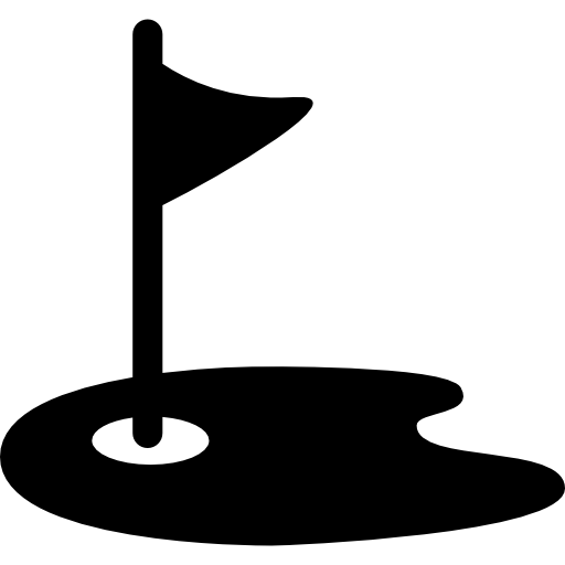 drapeau et terrain de golf  Icône gratuit