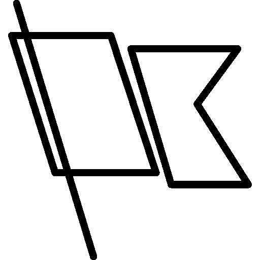 gefaltete schwarze flagge mit dünner stange  kostenlos Icon