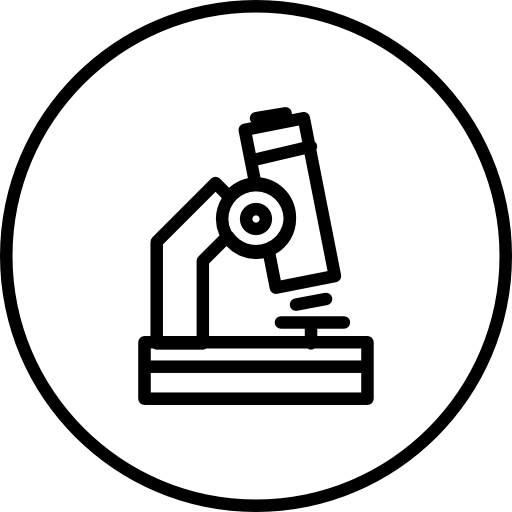 contour de microscope dans un cercle  Icône gratuit