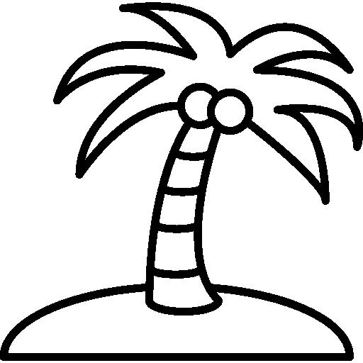 cocotier sur une île  Icône gratuit