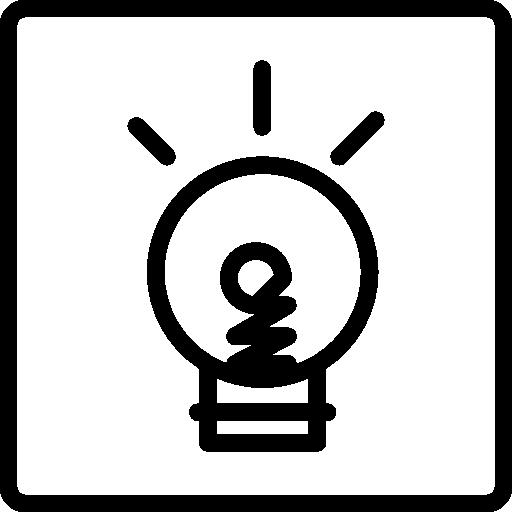doodle ampoule sur fond carré  Icône gratuit