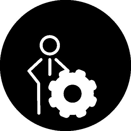 contorno de persona con símbolo de rueda dentada  icono gratis