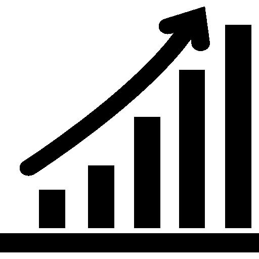 Increasing stocks graphic  free icon