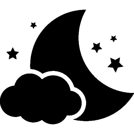Ночной символ луны с облаком и звездами  бесплатно иконка