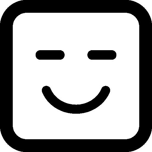 닫힌 된 눈으로 웃는 이모티콘 사각형 얼굴  무료 아이콘