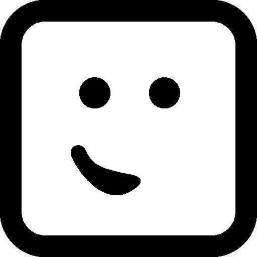 둥근 사각형에 작은 미소처럼 한쪽에 입이있는 이모티콘 얼굴  무료 아이콘