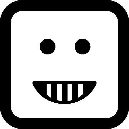 이모티콘 행복 미소 사각형 얼굴 모양  무료 아이콘