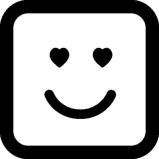 사각형 윤곽선에 심장 모양의 눈을 가진 사랑의 얼굴에 이모티콘  무료 아이콘