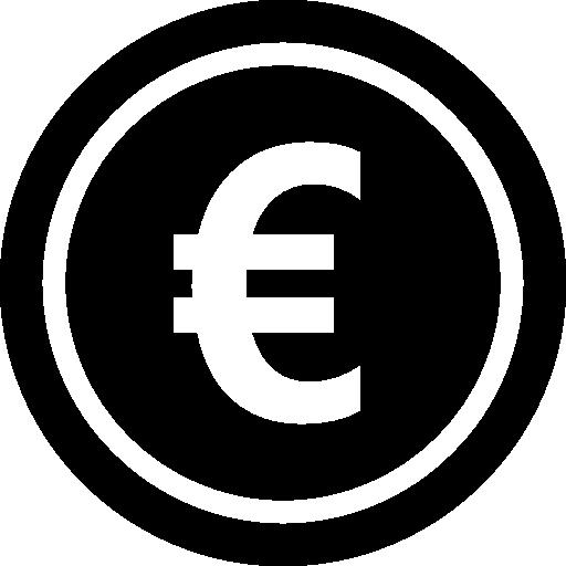 Монета евро  бесплатно иконка
