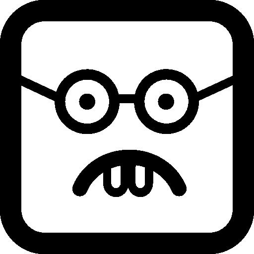 얼간이 이모티콘 사각형 얼굴  무료 아이콘