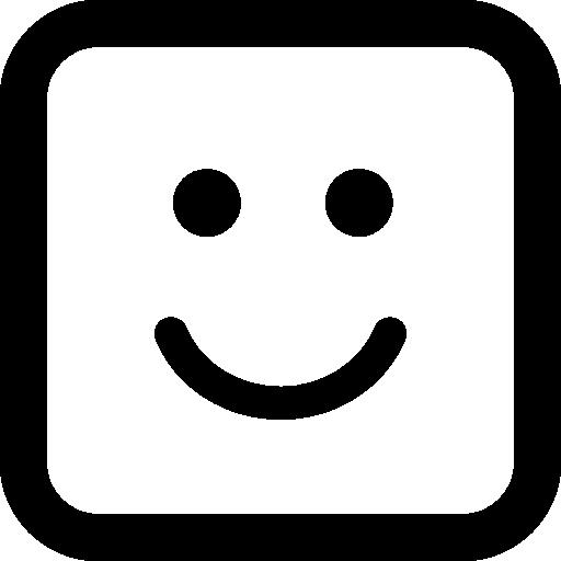 웃는 이모티콘 사각형 얼굴  무료 아이콘