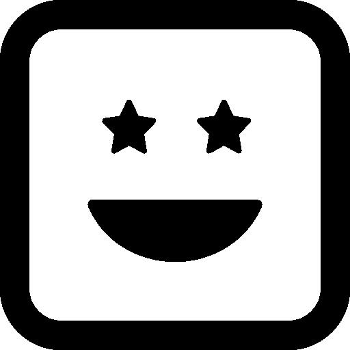 별처럼 눈을 가진 웃는 행복한 이모티콘 사각형 얼굴  무료 아이콘
