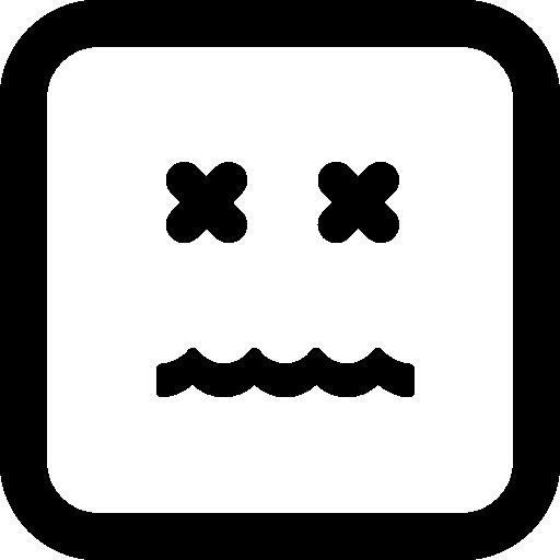 무효 이모티콘 사각형 얼굴  무료 아이콘