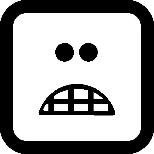 무서워 이모티콘 사각형 얼굴  무료 아이콘