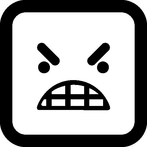 분노 이모티콘 사각형 얼굴  무료 아이콘