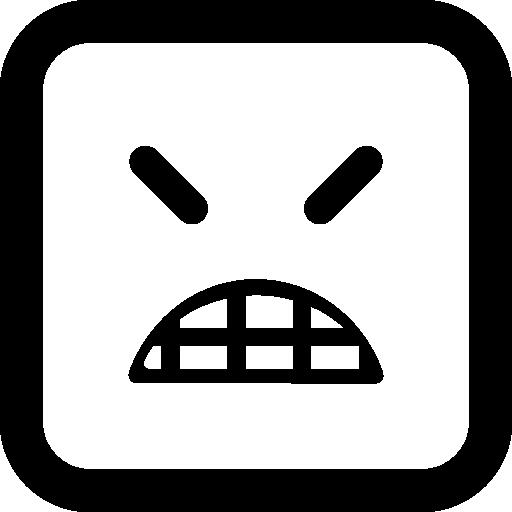 닫힌 눈을 가진 화난 이모티콘 사각형 얼굴  무료 아이콘
