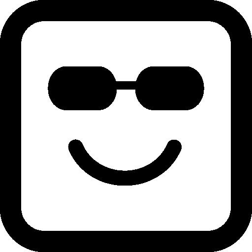 선글라스와 함께 행복 하 게 웃는 이모티콘 사각형 얼굴  무료 아이콘