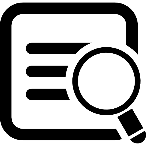 Символ интерфейса квадрат поиска данных с лупой  бесплатно иконка