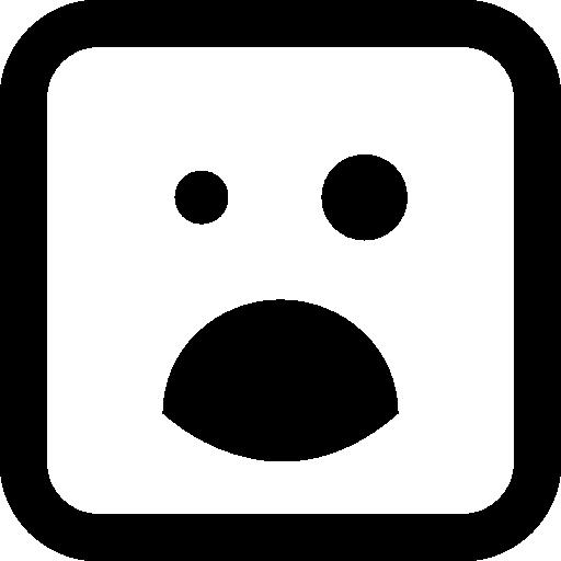 검은 눈과 열린 입 이모티콘 사각형 얼굴  무료 아이콘