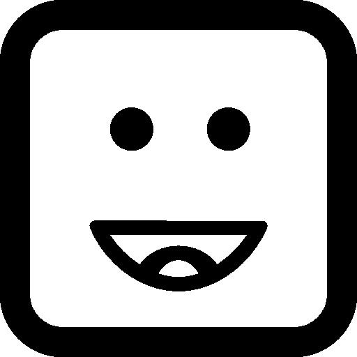 feliz, sonriente, emoticon, cara cuadrada  icono gratis