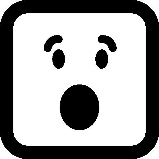 열린 눈과 입으로 놀란 이모티콘 사각형 얼굴  무료 아이콘