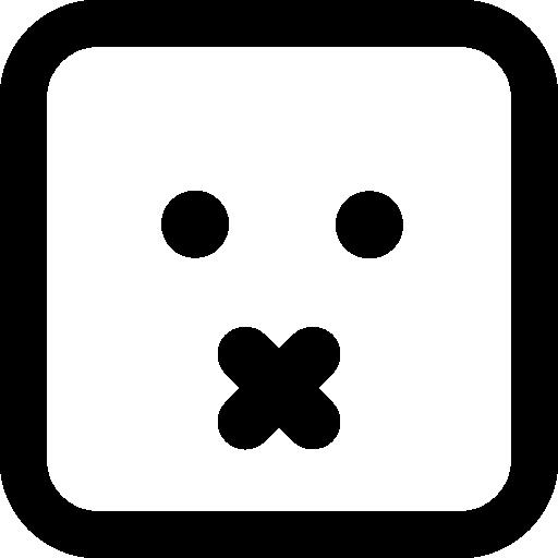 이모티콘 사각형 얼굴 음소거  무료 아이콘