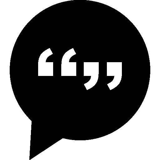 Символ интерфейса знака разговора круговой речи пузырь с кавычками внутри  бесплатно иконка