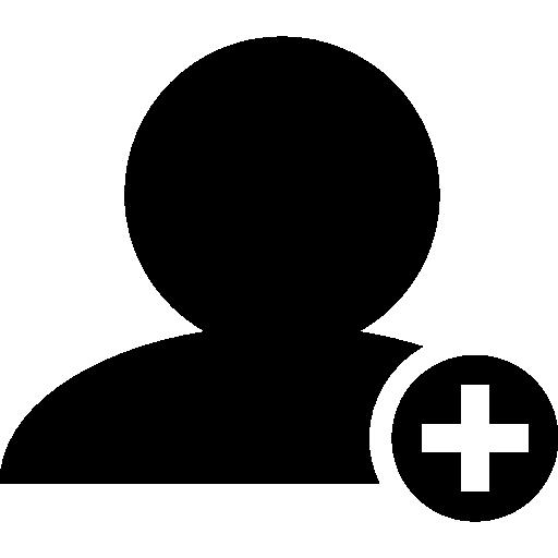 Добавьте символ интерфейса людей черного человека крупным планом со знаком плюс в маленьком круге  бесплатно иконка