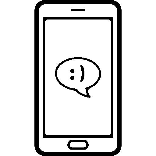 전화 화면에 미소 기호가있는 말풍선 채팅 메시지  무료 아이콘