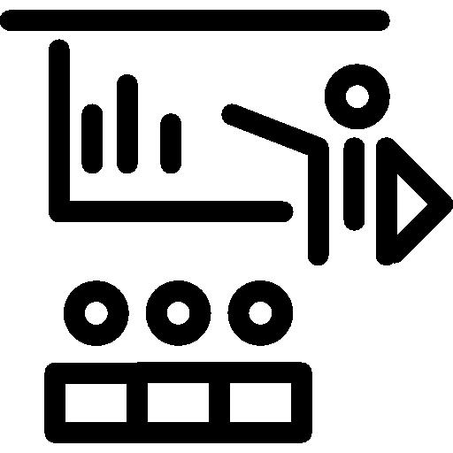 profesor enseñando a la clase símbolo circular.  icono gratis