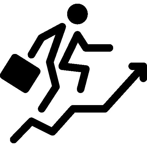 empresario con escalera de flecha ascendente en círculo  icono gratis