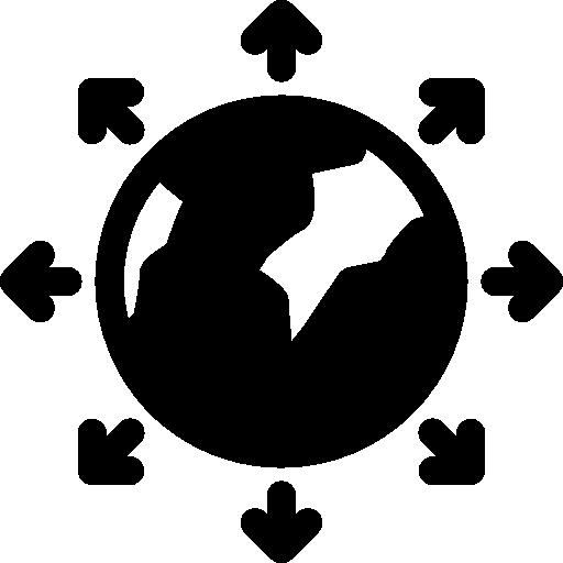 mundo rodeado de flechas en todas direcciones  icono gratis