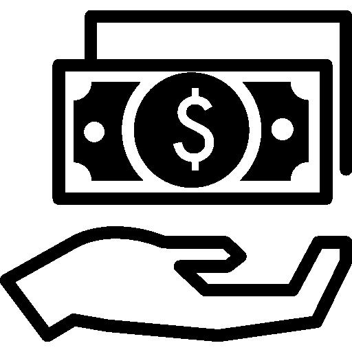 símbolo circular de efectivo de mano  icono gratis