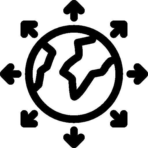 globo terráqueo rodeado por círculo de flechas  icono gratis