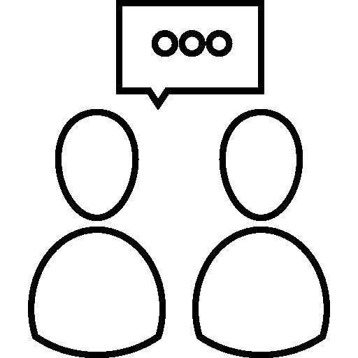 personas hablando símbolo de contorno dentro de un círculo  icono gratis