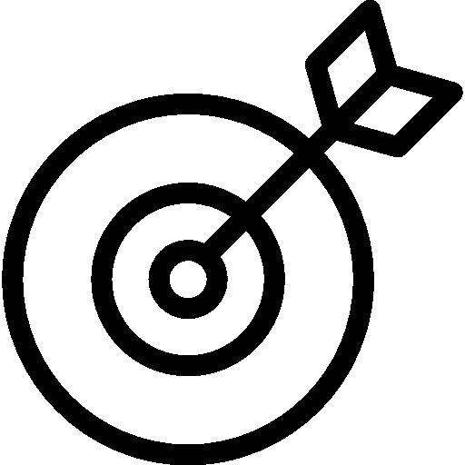 símbolo de contorno de destino en un círculo  icono gratis