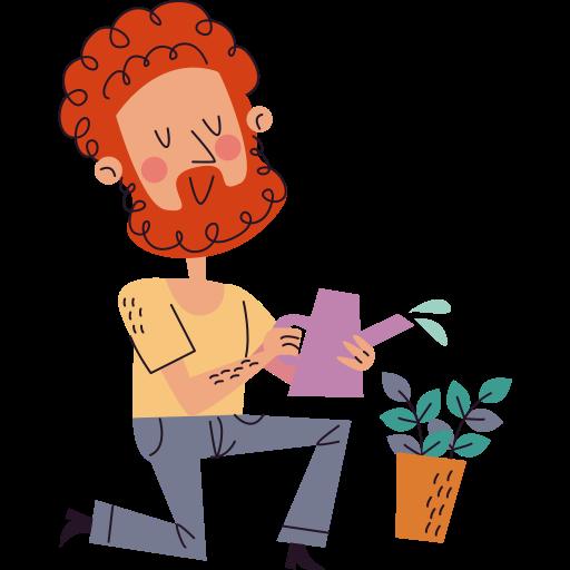 regando plantas  grátis figurinha