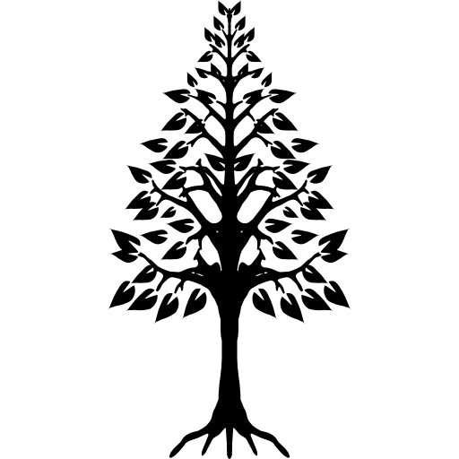 Tree triangular shape with roots  free icon