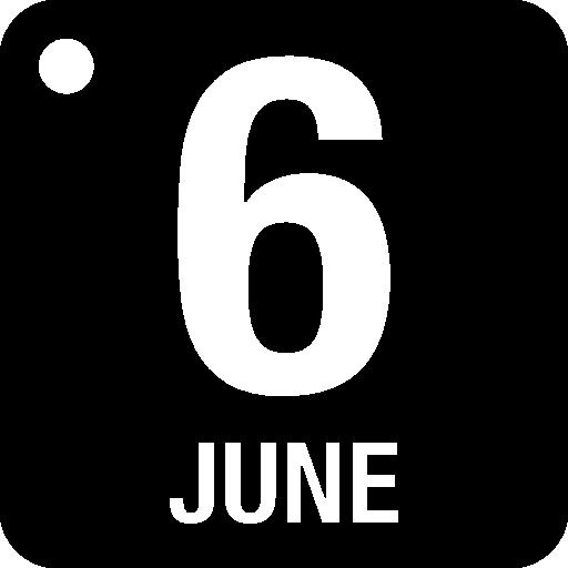 página do calendário diário de 6 de junho  grátis ícone