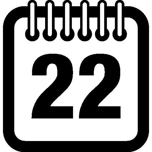 página do calendário diário no dia 22  grátis ícone