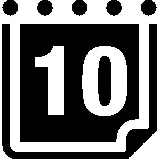 Ежедневная страница календаря на 10 день  бесплатно иконка